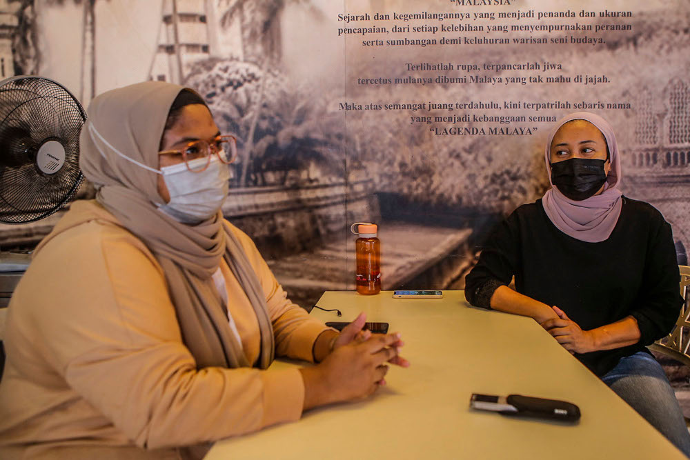 Restaurant owners Nor Azura Mat Isa, 43, and Nur Shahira Sheikh Moidin, 24, speak to Malay Mail during an interview at UTC Sentul July 2, 2020. — Picture by Hari Anggara