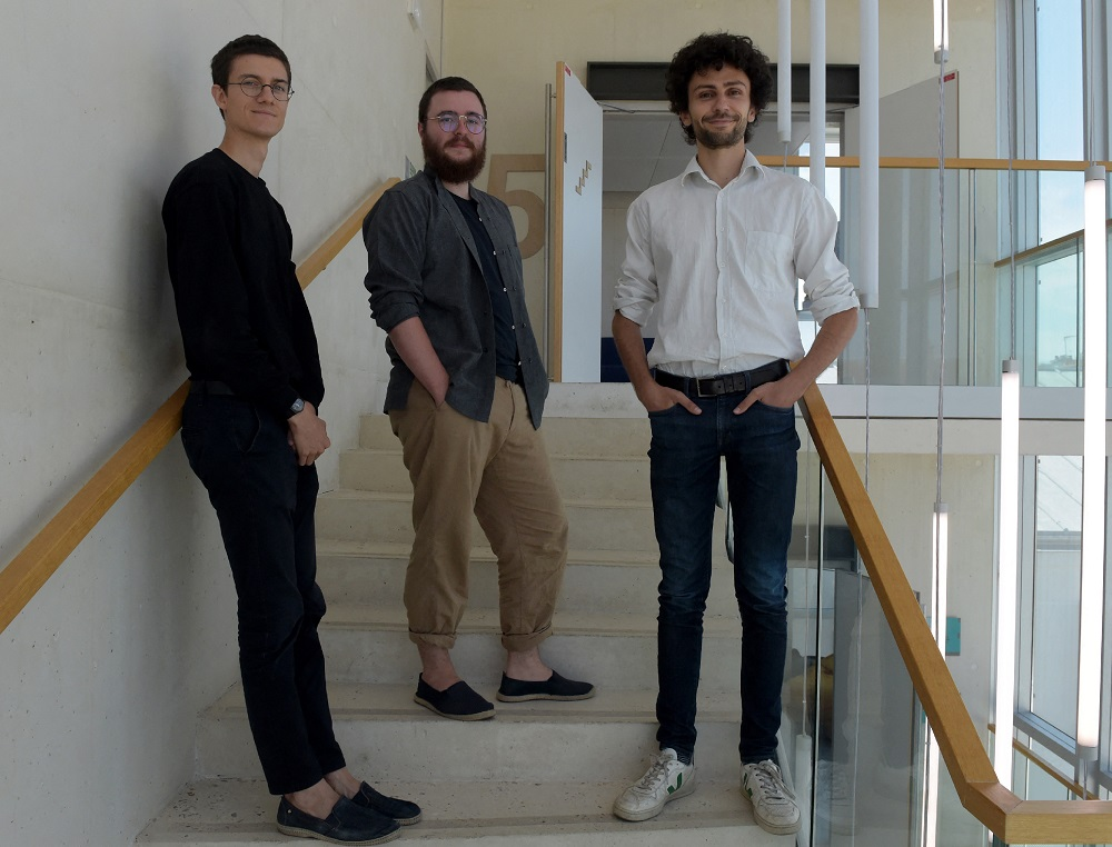 French cultivated meat start-up Gourmey co-founders Nicolas Morin-Forest (left), Victor Sayous (centre) and Antoine Davydoff (right) pose in Paris. ― AFP pic
