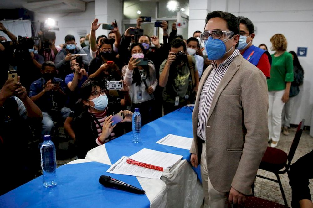 Juan Francisco Sandoval, who was removed by Guatemala's Attorney General as head of the Special Prosecutor's Office Against Impunity (FECI), arrives for a news conference in Guatemala City, Guatemala July 23, 2021. — Reuters pic