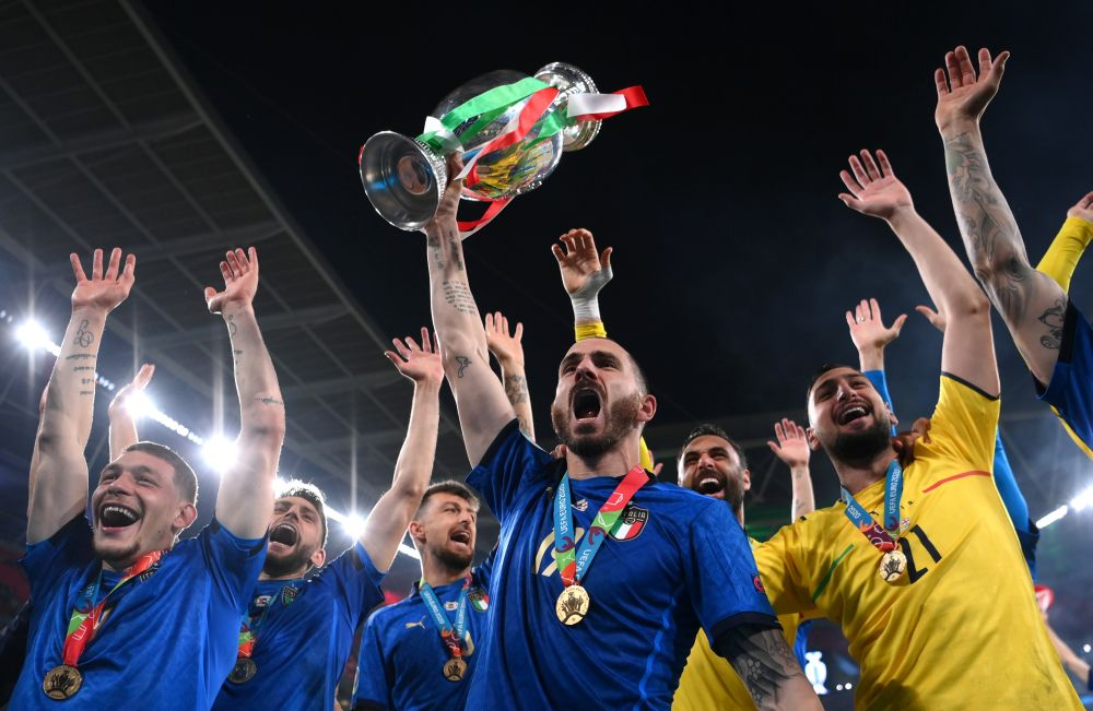 Italy's Leonardo Bonucci celebrates with the trophy after winning Euro 2020 at Wembley, London July 11, 2021. — Reuters pic