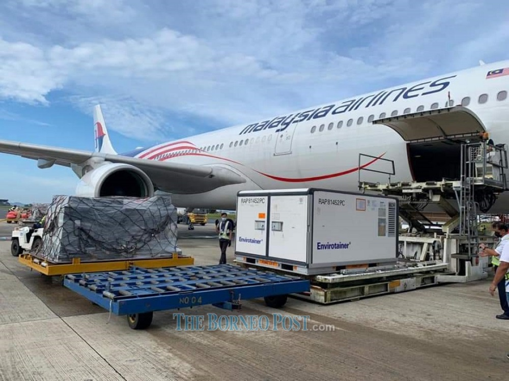 The shipment of what could be among the last batch of Sinovac arriving in Kuching this morning.  —  Picture via Facebook/Dr Sim