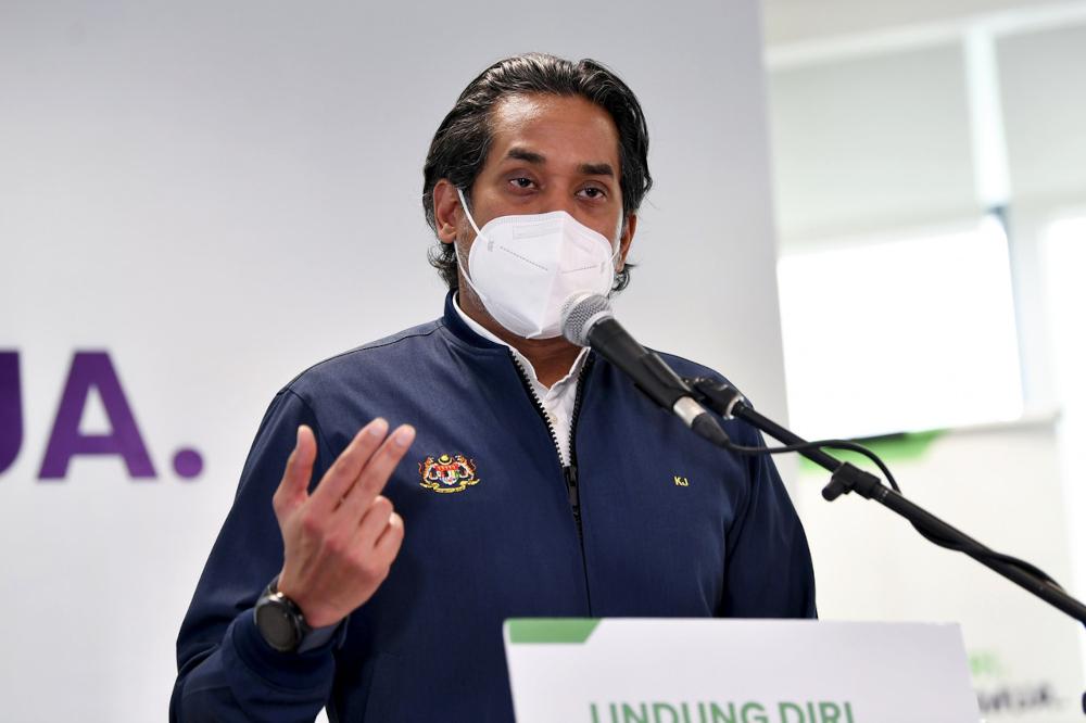 Khairy Jamaluddin at the daily press conference on the national immunisation programme in Putrajaya, July 23, 2021. — Bernama pic