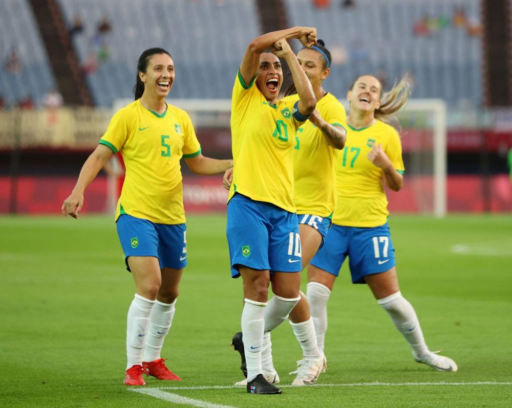 Marta of Brazil celebrates scoring their third goal against China at the Tokyo Olympics in Miyagi, Japan July 21, 2021. — Reuters pic