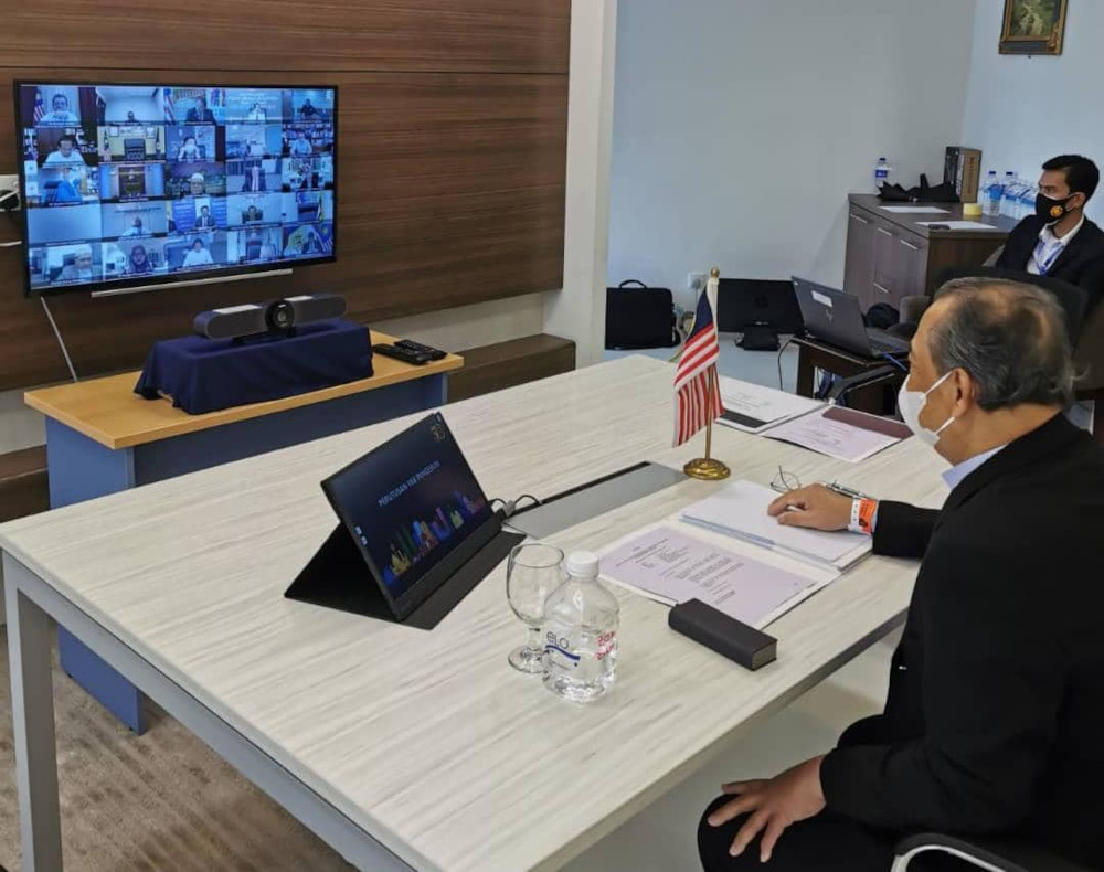 Tan Sri Muhyiddin Yassin chairing the special meeting of the National Security Council via teleconferencing to discuss the latest situation of Covid-19 in the country, July 5, 2021. — Picture from Facebook/Muhyiddin Yassin