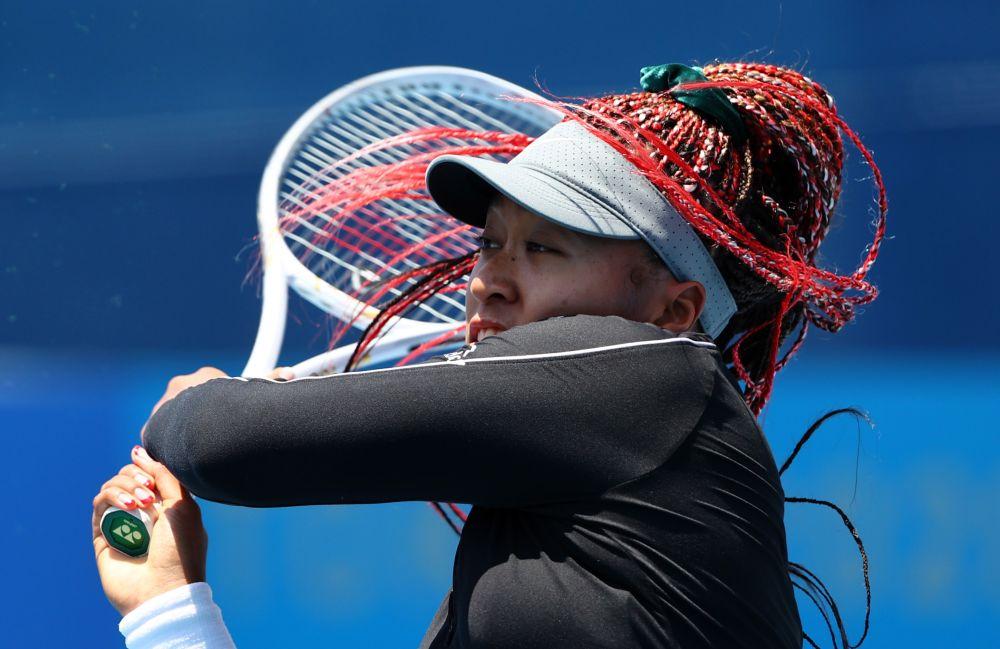 Naomi Osaka of Japan during training at the Ariake Tennis Park, Tokyo July 23, 2021. — Reuters pic