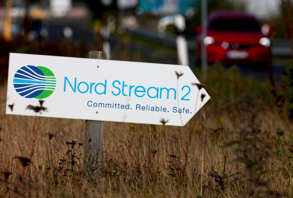 A road sign directs traffic towards the Nord Stream 2 gas line landfall facility entrance in Lubmin September 10, 2020. — Reuters pic