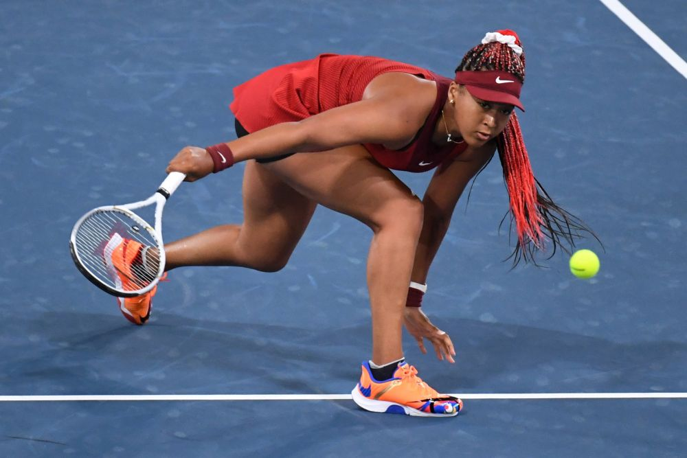 Naomi Osaka of Japan in action during her third round match against Marketa Vondrousova of the Czech Republic at the Ariake Tennis Park, Tokyo July 27, 2021. — Reuters pic