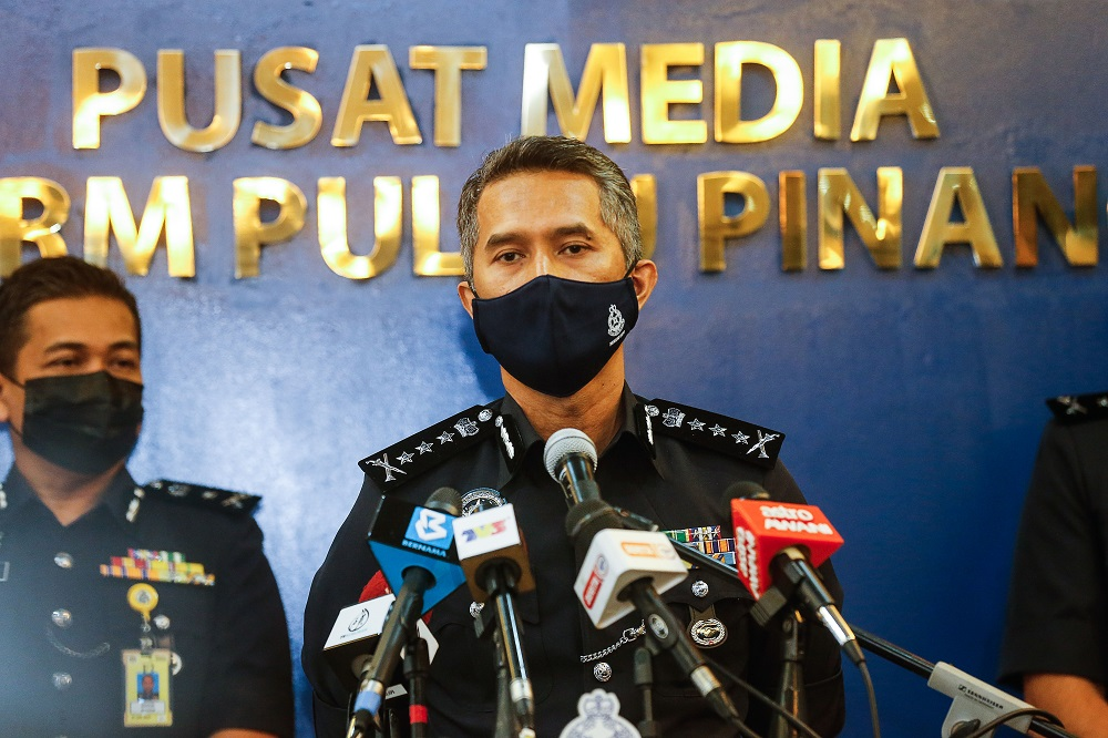 Penang CPO Datuk Mohd Shuhaily Mohd Zain speaks to reporters during a press conference in George Town July 14, 2021. ― Picture by Sayuti Zainudin