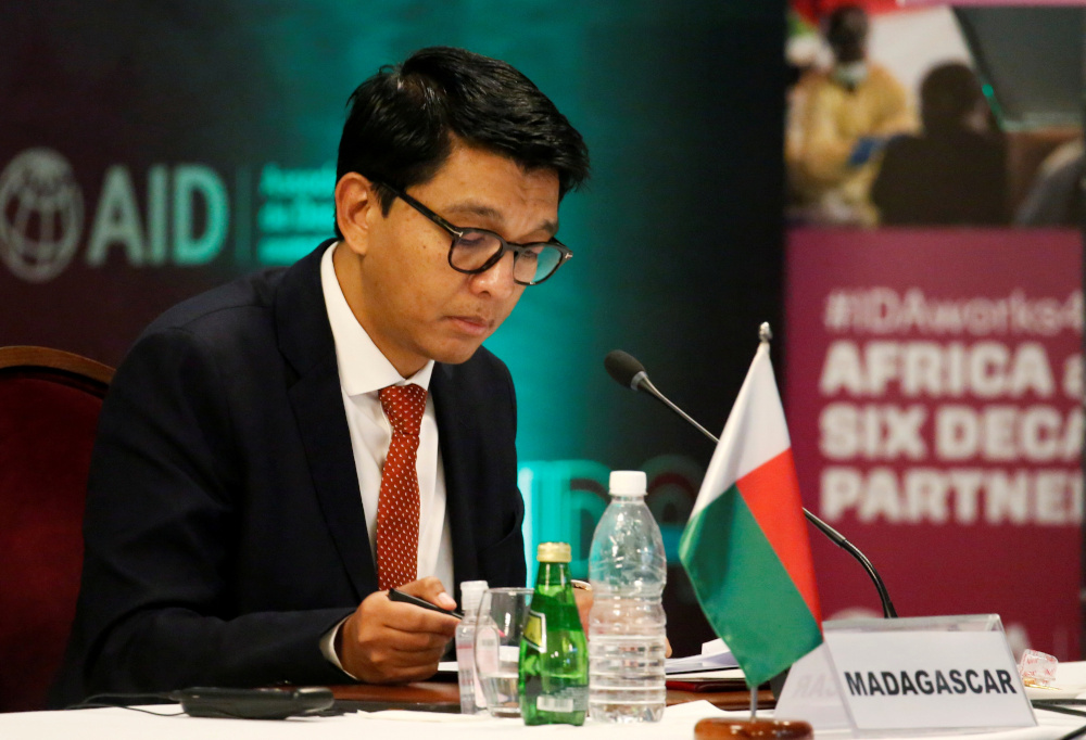 Madagascar's President Andry Rajoelina attends a meeting to discuss the 20th replenishment of the World Bank's International Development Association, in Abidjan, Ivory Coast July 15, 2021. — Reuters pic