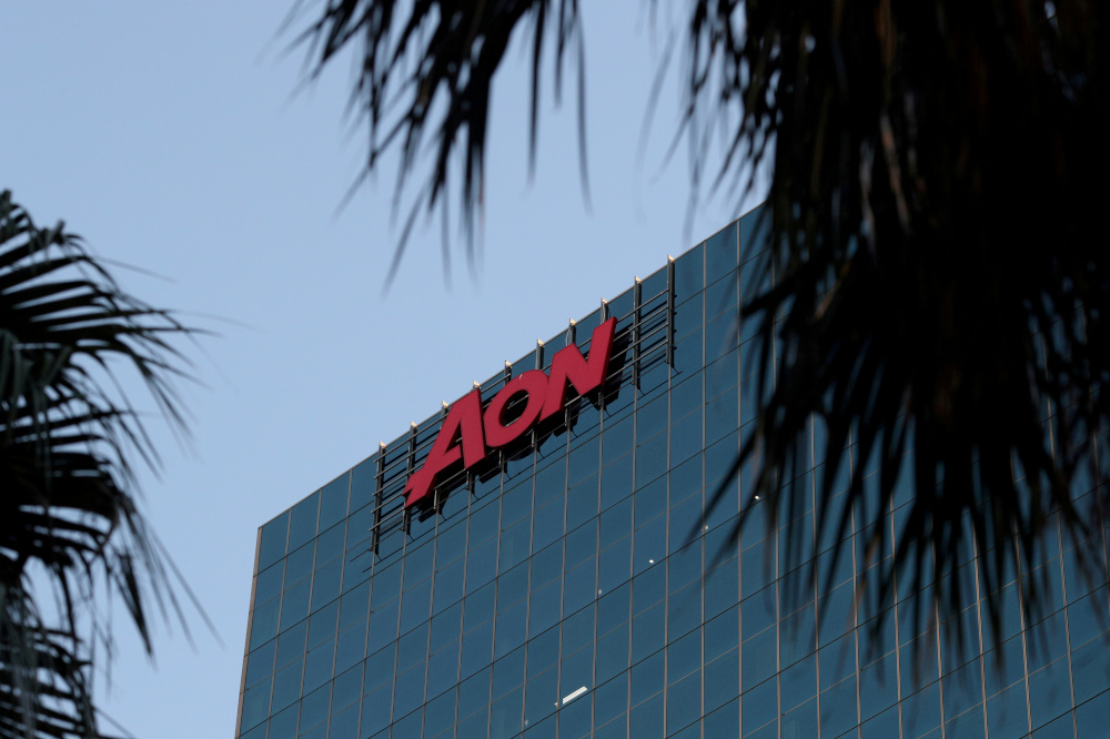 An office building with the Aon logo is seen amid the easing of the coronavirus disease (Covid-19) restrictions in the Central Business District of Sydney June 3, 2020. — Reuters pic