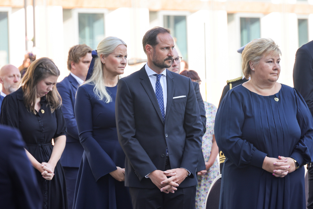 Norway's Crown Prince Haakon, Crown Princess Mette-Marit, and Prime Minister Erna Solberg attend a memorial service ten years after the Oslo and Utoeya island bomb attack, in Oslo July 22, 2021. — NTB/Geir Olsen pic via Reuters