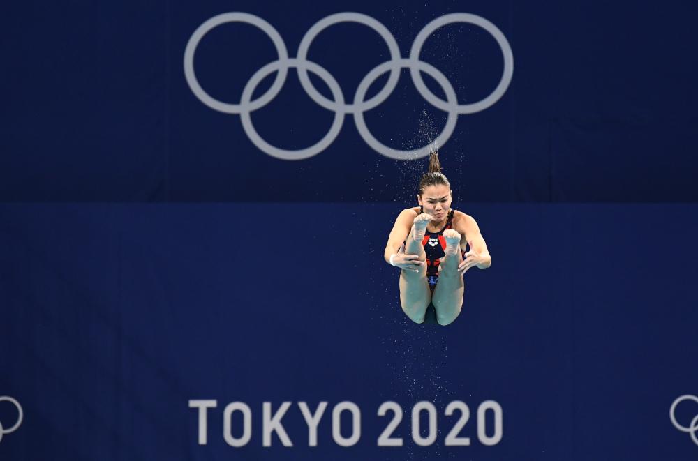 Nur Dhabitah Sabri of Malaysia in action at the Tokyo 2020 Olympics Women's 3m Springboard semifinals at the Tokyo Aquatics Centre, Tokyo July 31, 2021. — Reuters pic