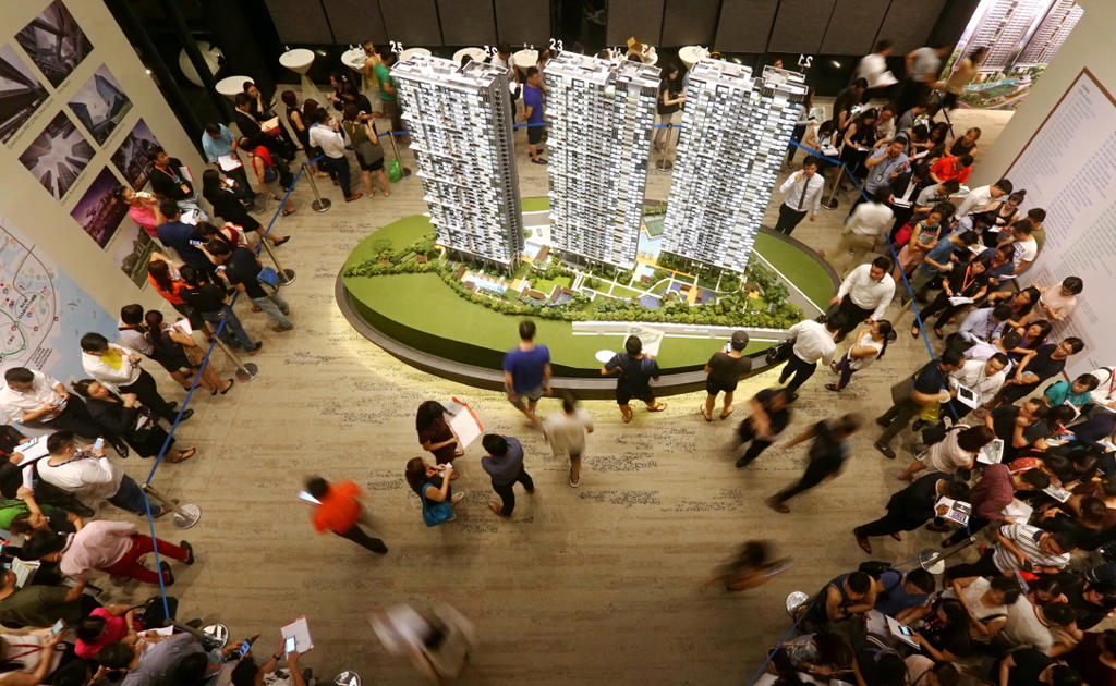 A file photo of a private residential property launch in Singapore during pre-pandemic times. — TODAY pic