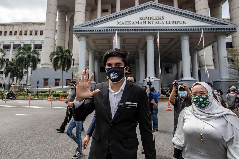 Muar MP Syed Saddiq Syed Abdul Rahman leaves the Kuala Lumpur Court Complex July 22, 2021. — Picture by Firdaus Latif