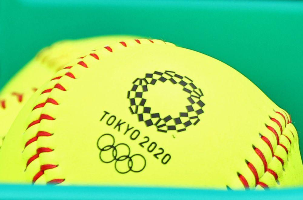 A softball bearing the Tokyo 2020 Olympics logo is seen at the Fukushima Azuma Baseball Stadium in Fukushima July 22, 2021. — Reuters pic