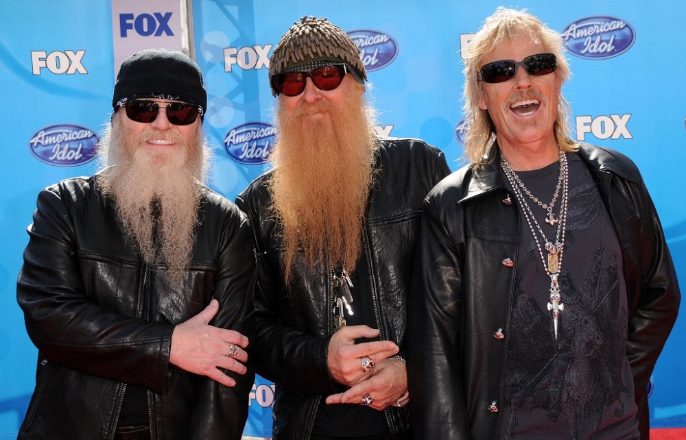 ZZ Top band members Dusty Hill (left), Billy Gibbons (centre) and Frank Beard (right) arriving for the American Idol 2008 Finale held at the Nokia theatre in Los Angeles. Dusty Hill, the longtime bassist for ZZ Top, died on July 28, 2021, in his sleep at his home in Houston. ― AFP pic