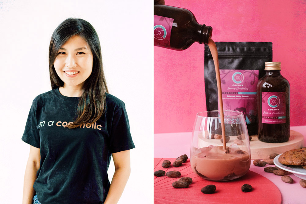 Cocova founder Chan Jinli (left). Pouring a cool glass of iced chocolate (right).