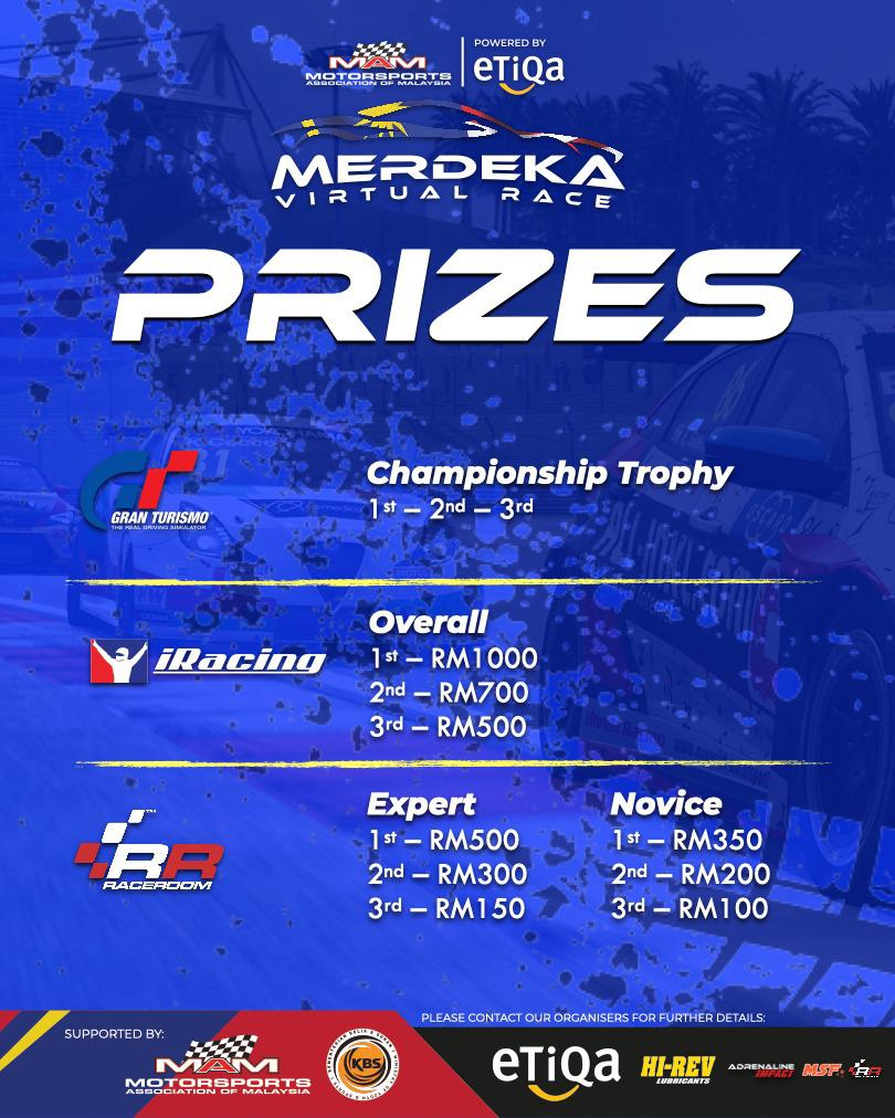 Prize money for the respective winners at the Merdeka Virtual Race tournament. —Picture courtesy of MAM