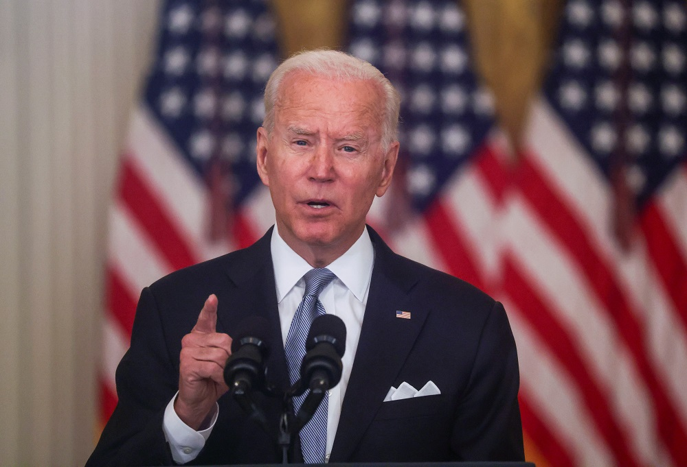 File photo of US President Joe Biden at the White House in Washington August 16, 2021. — Reuters pic