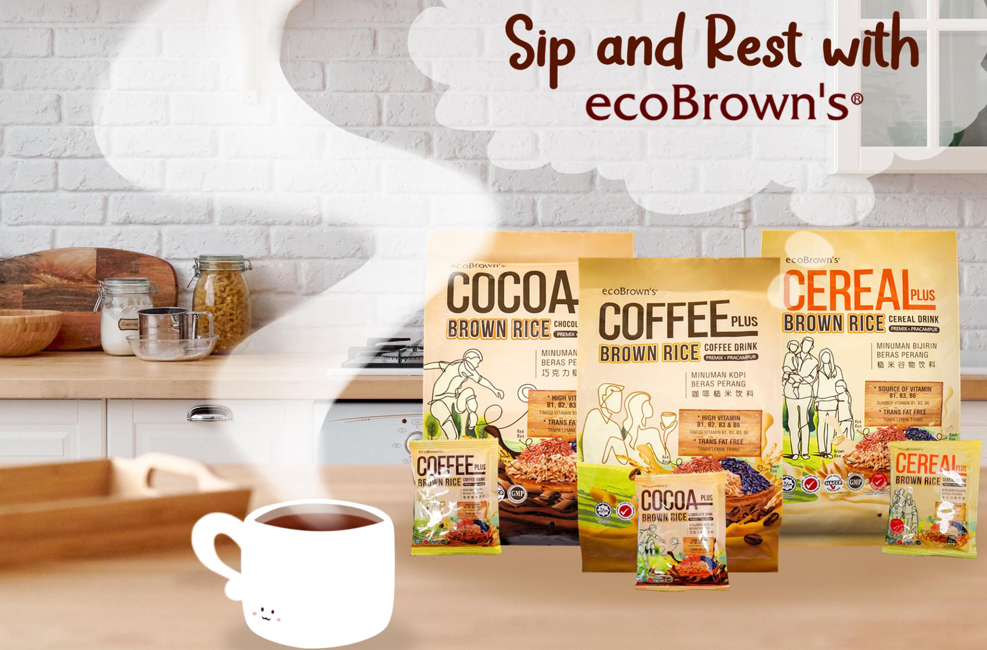 ecoBrown PLUS系列糙米饮料共有3种口味。-ecoBrown提供-