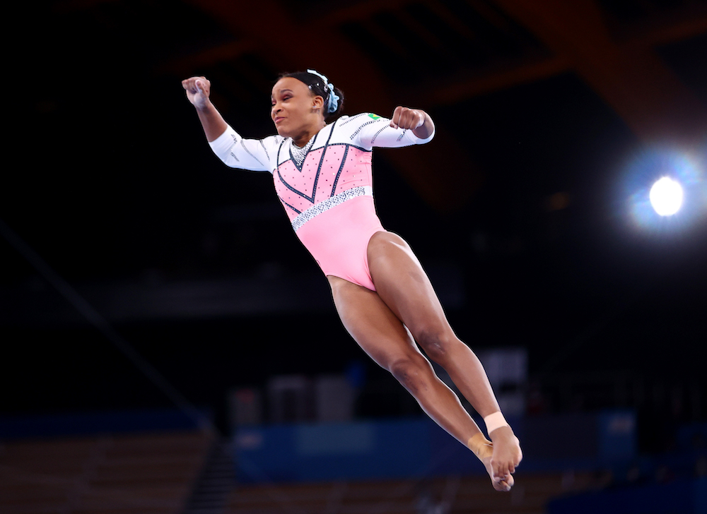Rebeca Andrade of Brazil in action on the vault at the Ariake Gymnastics Centre, Tokyo, Japan August 1, 2021.  — Reuters pic