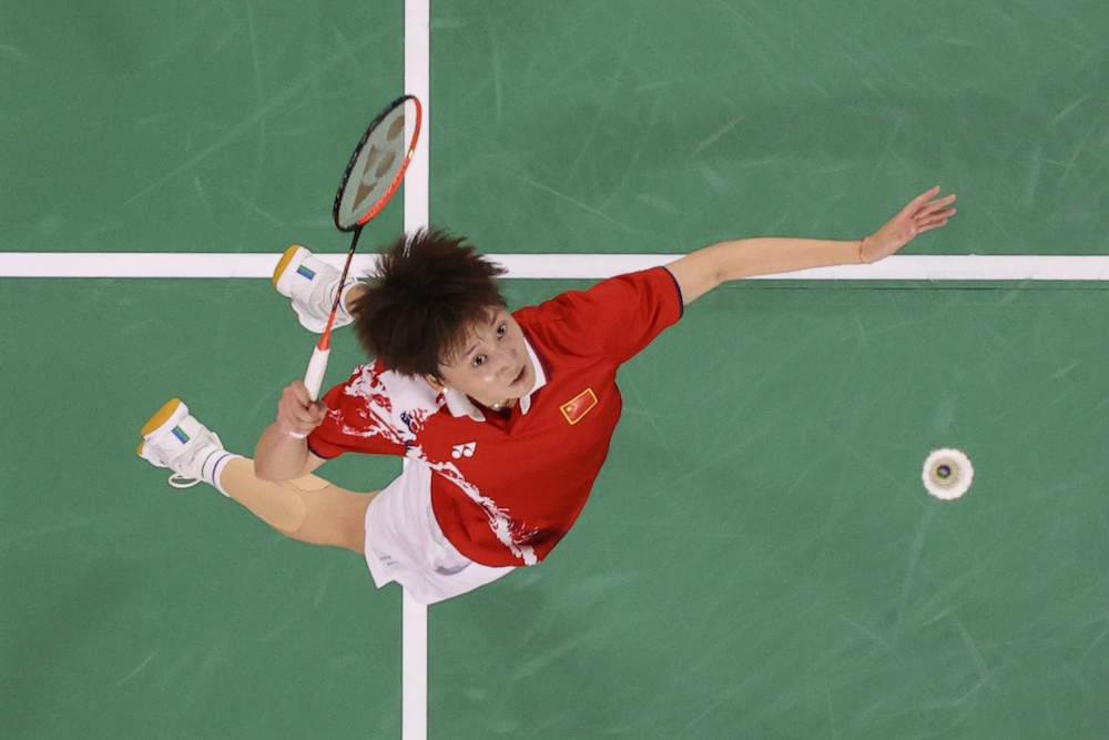 Chen Yu Fei of China in action during the match against Tai Tzu-Ying of Taiwan at the Musashino Forest Sport Plaza, Tokyo, Japan August 1, 2021. — Pool via Reuters pic