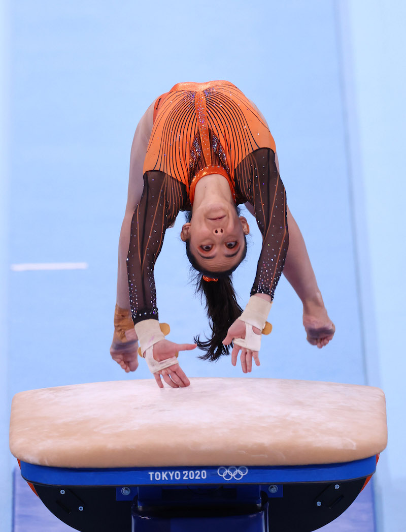 Farah Ann Abdul Hadi of Malaysia in action on the vault at the Ariake Gymnastics Centre, Tokyo, Japan July 25, 2021. — Reuters pic
