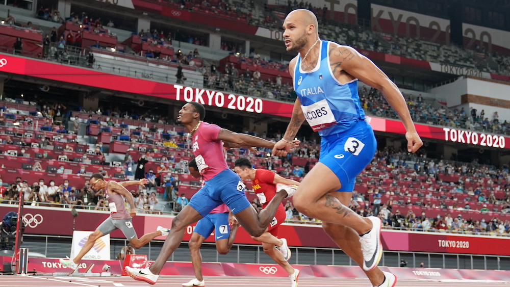 Lamont Marcell Jacobs of Italy crosses the line to win the 100m gold at the Olympic Stadium, Tokyo, Japan August 1, 2021. — Reuters pic