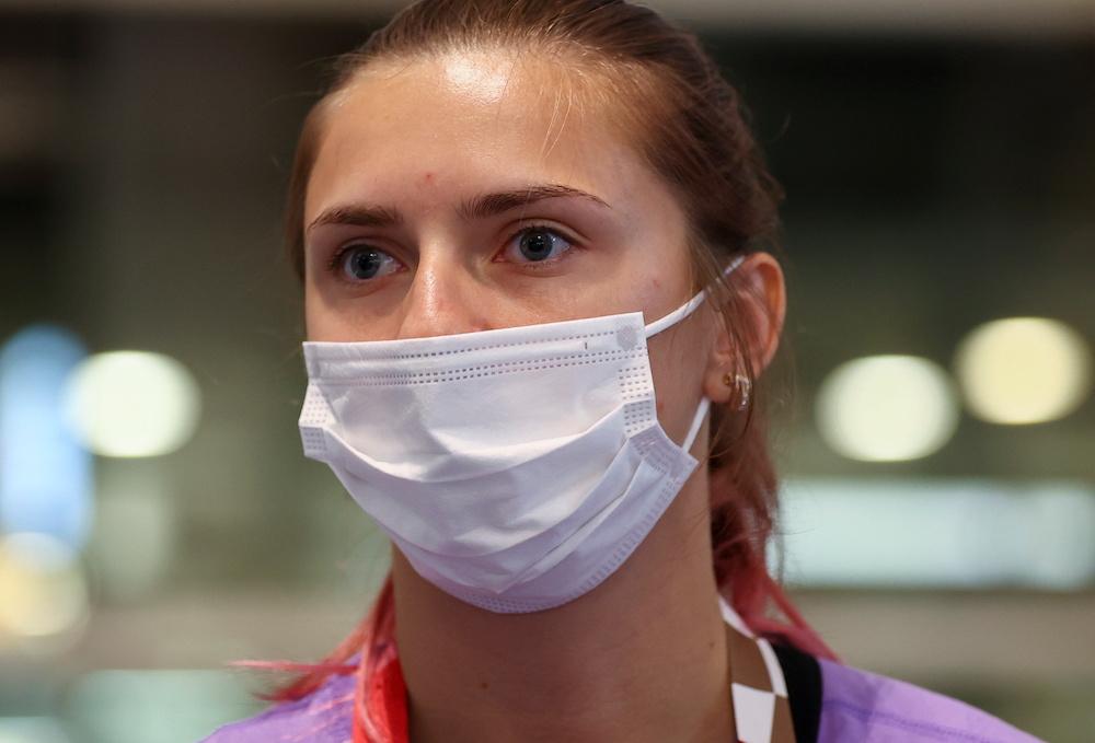 Belarusian athlete Krystsina Tsimanouskaya is seen at Haneda international airport in Tokyo, Japan August 1, 2021. — Reuters pic