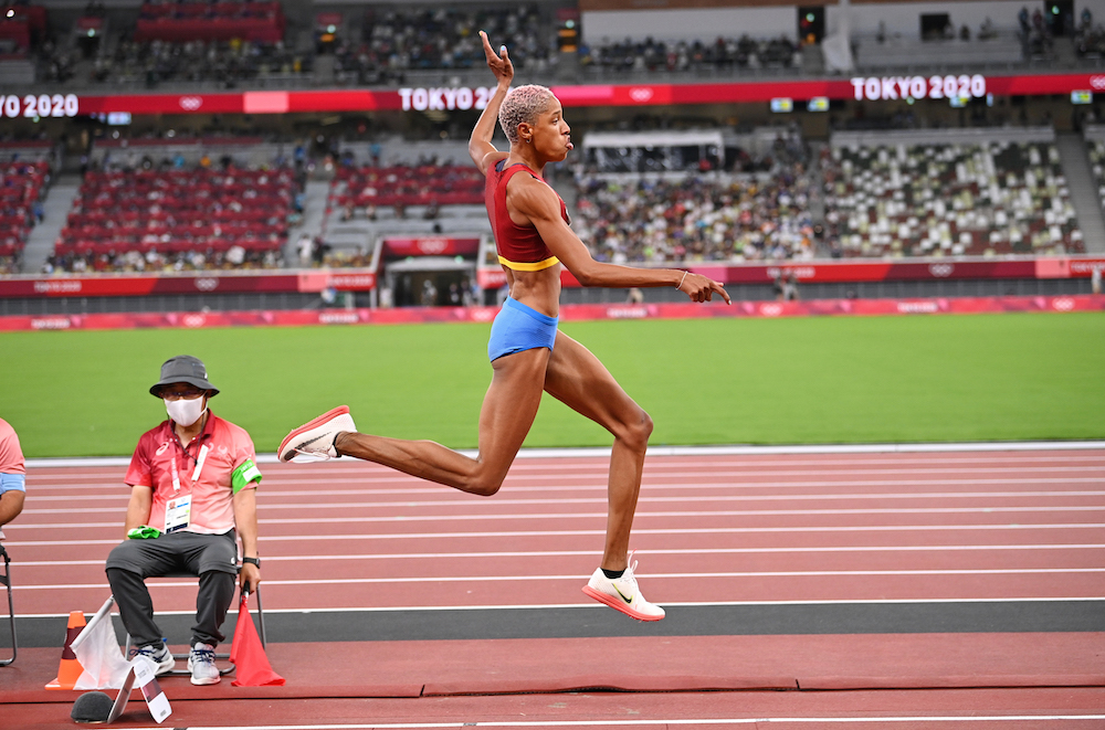 Yulimar Rojas of Venezuela in action at the Olympic Stadium, Tokyo, Japan August 1, 2021. — Reuters pic