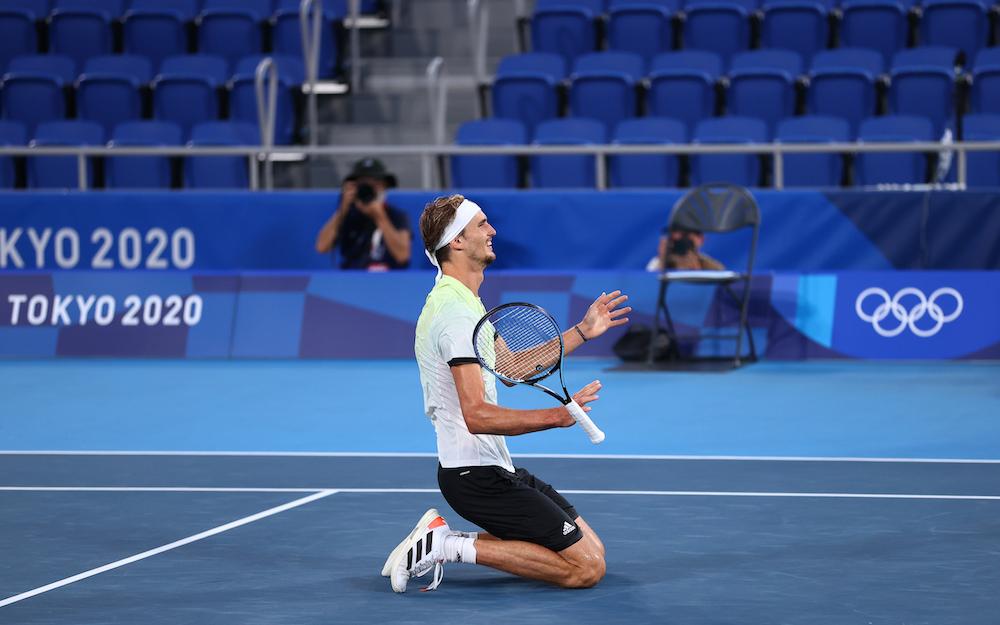 Alexander Zverev of Germany celebrates after winning his gold medal match against Karen Khachanov at the Ariake Tennis Park Tokyo, Japan August 1, 2021. — Reuters pic