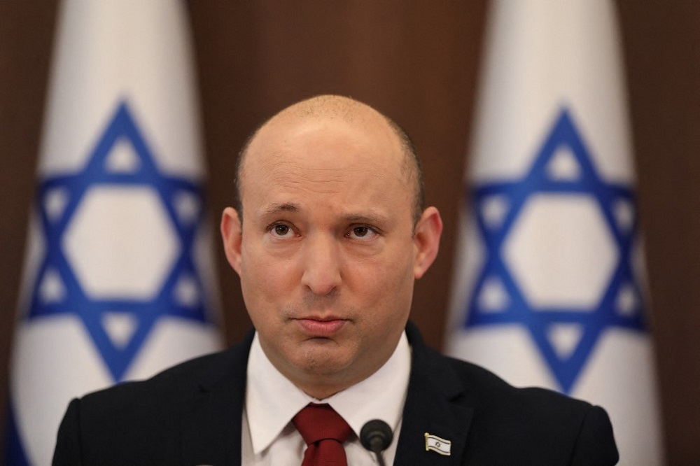 Israel's Prime Minister Naftali Bennett attends the weekly cabinet meeting in Jerusalem August 1, 2021. — AFP pic