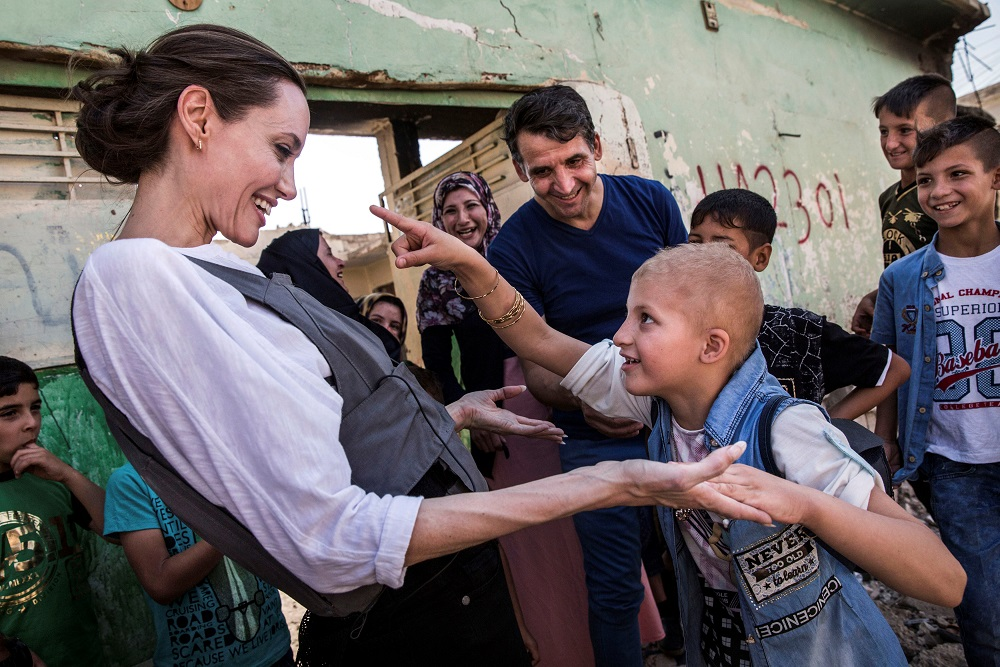 UNHCR Special Envoy, Angelina Jolie meets Falak, 8, during a visit to West Mosul, Iraq June 16 2018. — Reuters pic
