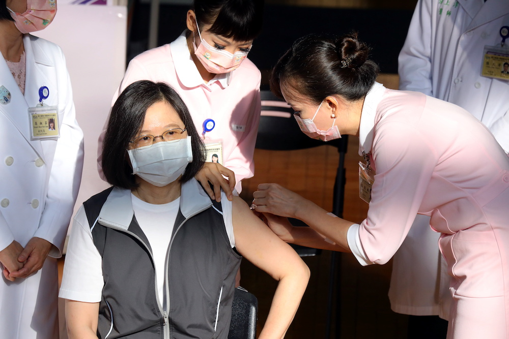 A nurse administers a dose of the domestically developed Medigen Vaccine Biologics Corp's Covid-19 vaccine for Taiwan President Tsai Ing-wen at National Taiwan University Hospital in Taipei, Taiwan August 23, 2021. — Reuters pic