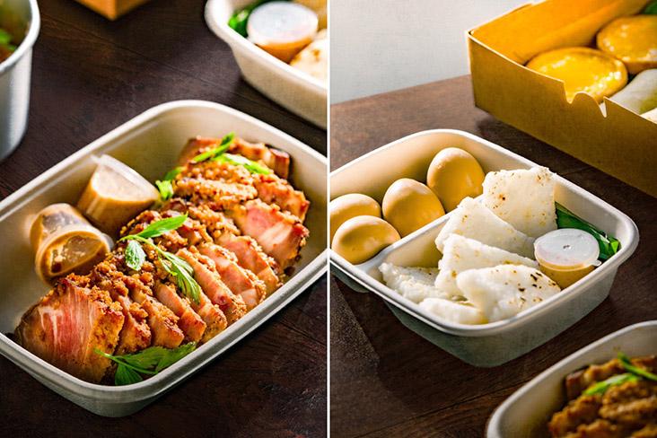 The Merdeka Fami-LI Meal includes slow cooked pork shoulder, charred Langit 'nasi impit' and soy marinated boiled eggs.