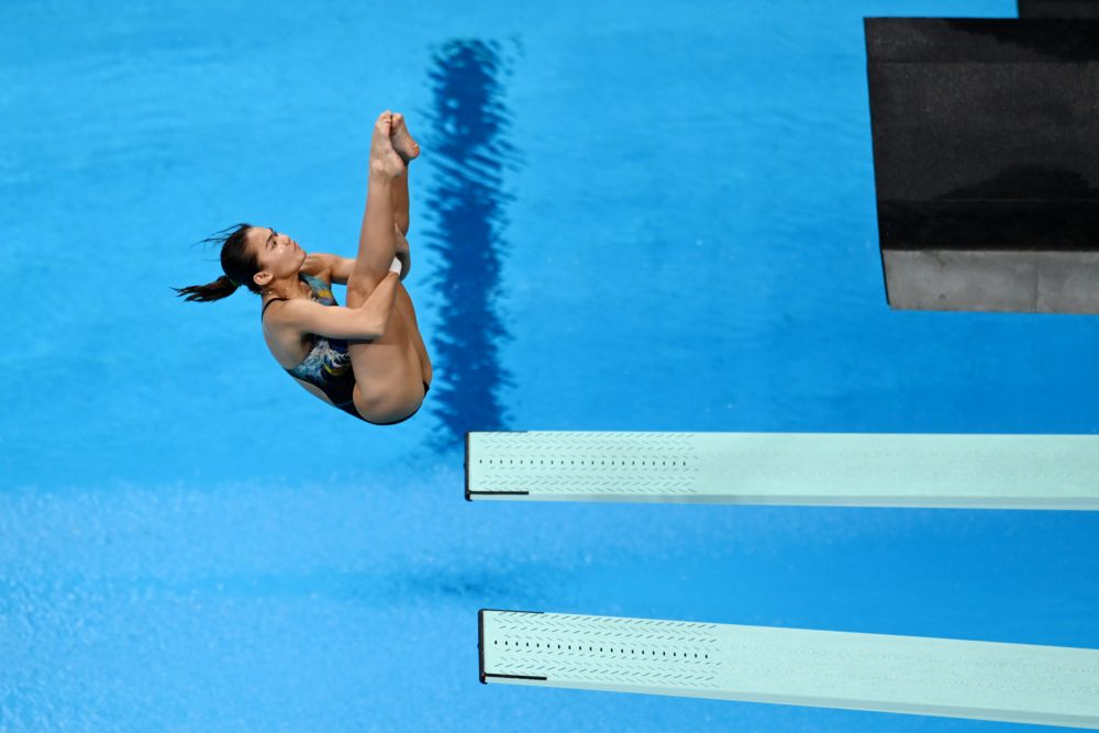 Nur Dhabitah Sabri of Malaysia in action during the women's 3m springboard final at the Tokyo Aquatics Centre August 1, 2021. — Reuters pic