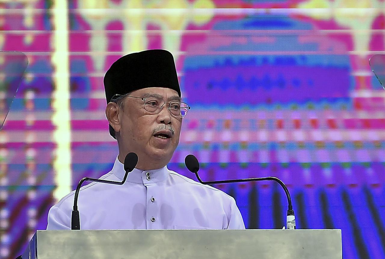 File photo of Prime Minister Tan Sri Muhyiddin Yassin delivering a speech during the 1443H/2021M Ma`al Hijrah Celebration at the Tuanku Mizan Zainal Abidin Mosque, August 9, 2021. — Bernama pic