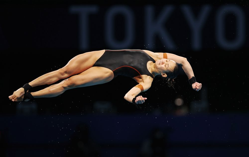 Pandelela Pamg of Malaysia in action during the women's 10m platform semifinals at the Tokyo Aquatics Centre August 5, 2021. — Reuters pic