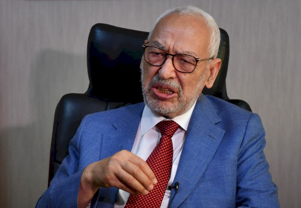 Tunisia's parliament speaker and and Ennahdha party leader Rached Ghannouchi gives an interview with AFP at his office in the capital Tunis on July 29, 2021. — AFP pic