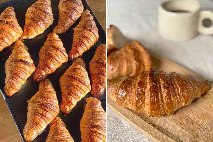 Rich, buttery and crispy croissants made with sourdough (left) and spelt (right).