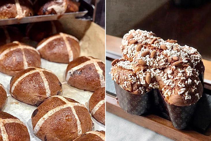 "Easter delights: Hot cross buns (left) and 'Colomba di Pasqua' (""Easter Dove"" in Italian)."