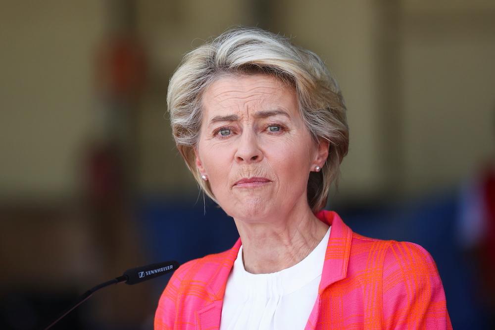 President of the European Commission Ursula Von der Leyen speaks as she attends a news conference at Torrejon Air Base in Torrejon de Ardoz, near Madrid, Spain, August 21, 2021.. ― Reuters pic