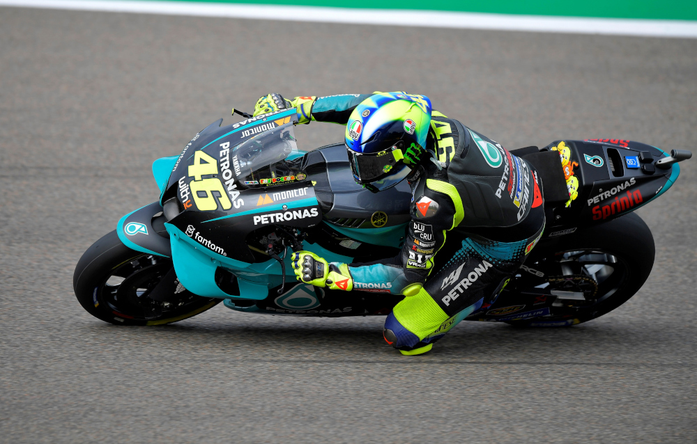 Petronas Yamaha SRT's Valentino Rossi in action during practice during the German Grand Prix, Sachsenring, Hohenstein-Ernstthal, Germany, June 20, 2021. ― Reuters pic