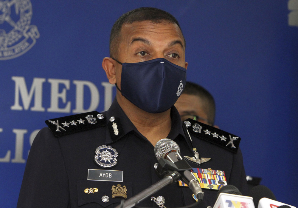 Johor police chief Datuk Ayob Khan Mydin Pitchay speaks at a press conference at the Johor Contingent Police Headquarters in Johor Baru, August 23, 2021. — Bernama pic