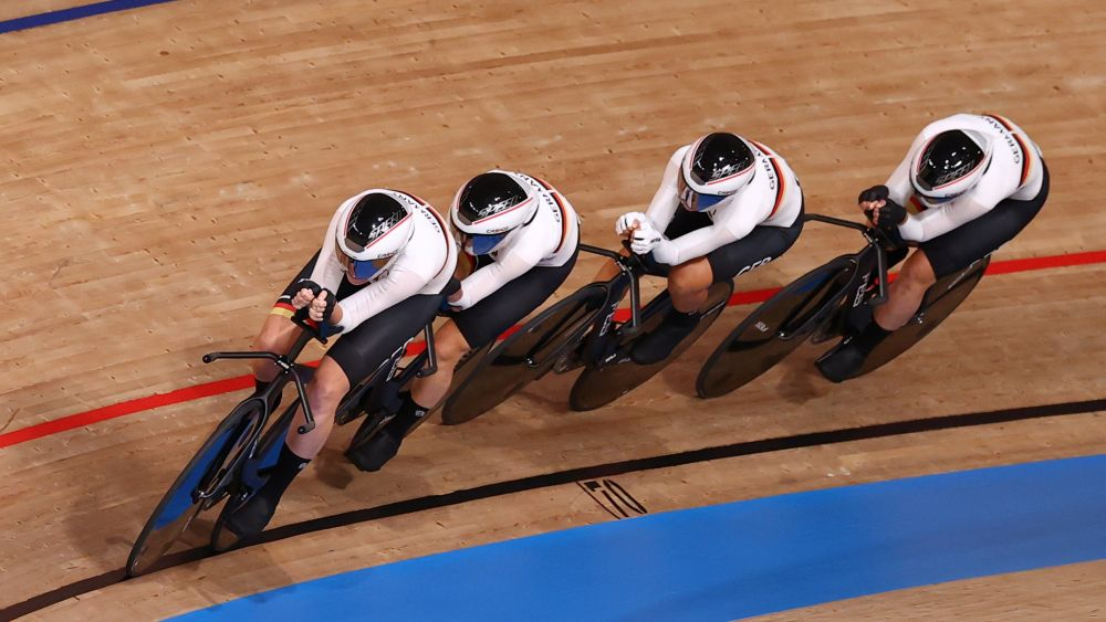 Franziska Brausse of Germany, Lisa Klein of Germany, Mieke Kroeger of Germany and Lisa Brennauer of Germany in action during the women's team pursuit at the Izu Velodrome, Shizuoka August 2, 2021. — Reuters pic