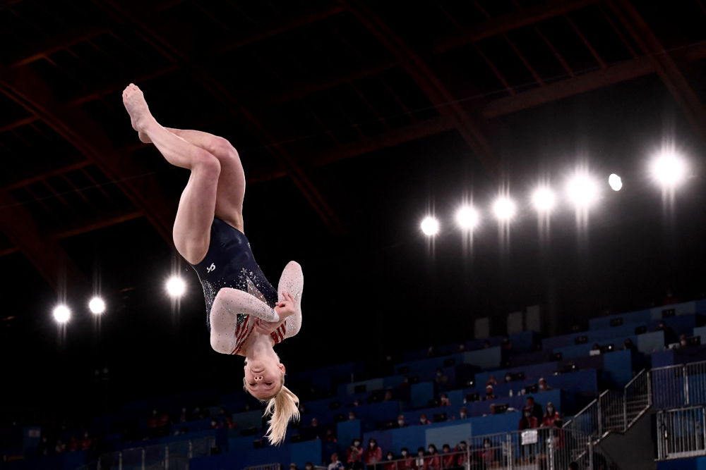 USA's Jade Carey competes in the artistic gymnastics women's floor exercise final during the Tokyo 2020 Olympic Games at the Ariake Gymnastics Centre in Tokyo August 2, 2021. ― AFP pic