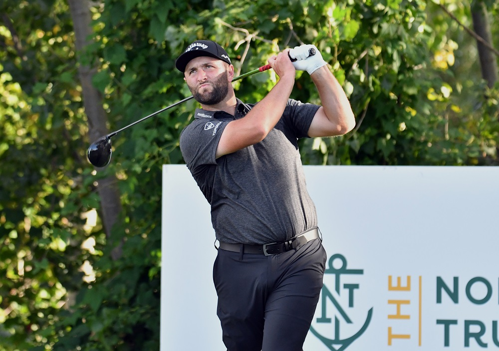 Jon Rahm watches his tee shot on the 18th hole during the first round of The Northern Trust golf tournament at the Liberty National Golf Club. ― Mark Konezny-USA TODAY Sports pic via Reuters