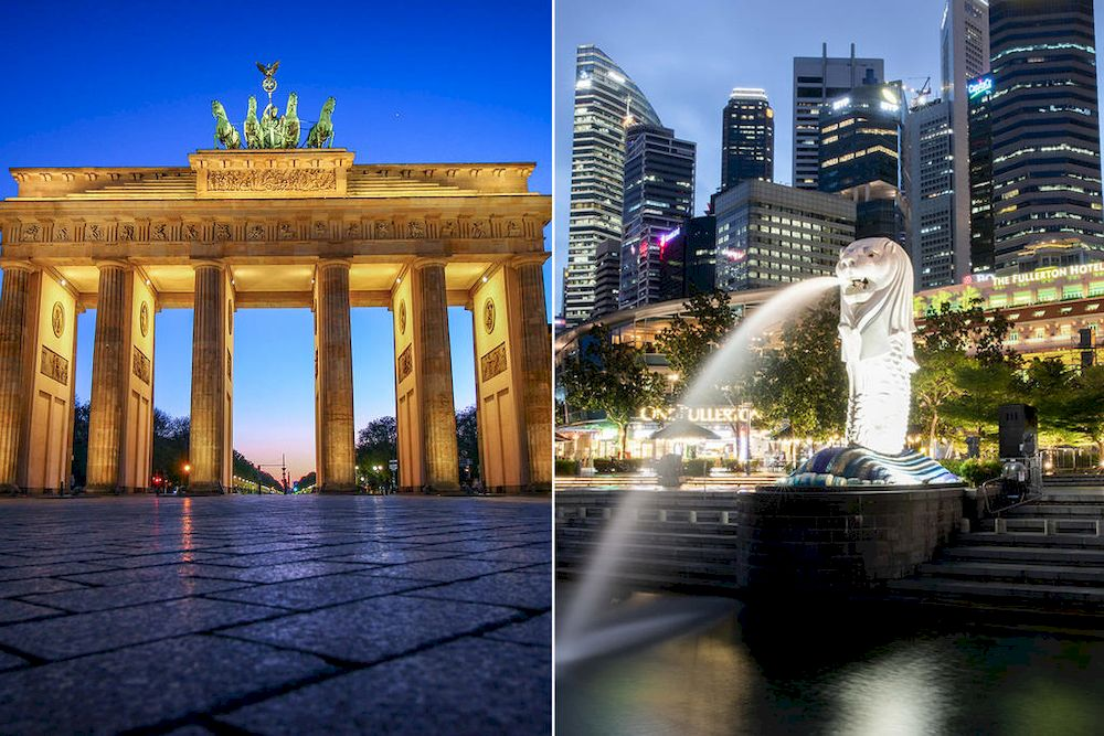 The Brandenburg Gate monument in Berlin, Germany (left) and the Merlion Park at the Marina Bay area in Singapore (right). — Unsplash and TODAY file pic