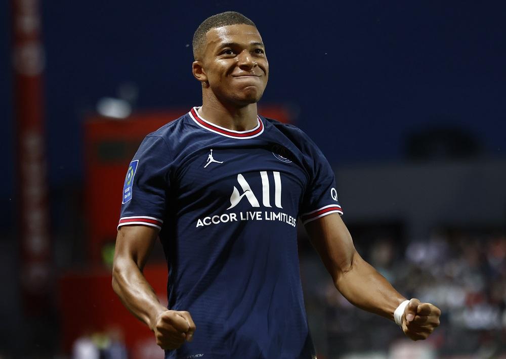 Paris St Germain's Kylian Mbappe celebrates after scoring a goal against Brest August 21, 2021. ― Reuters pic