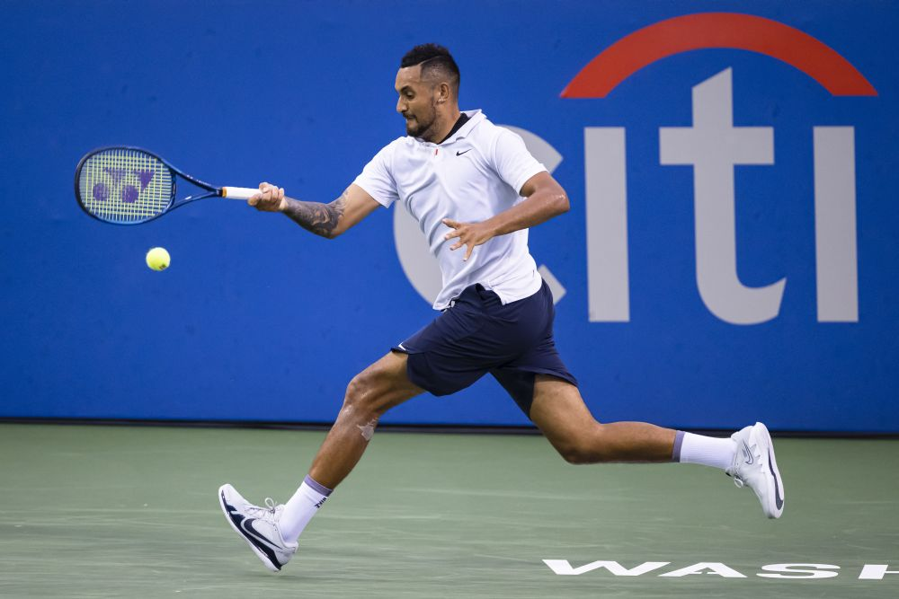Nick Kyrgios of Australia hits a forehand against Mackenzie McDonald of the United States during the Citi Open at Rock Creek Park Tennis Centre, Washington August 3, 2021. — Reuters pic